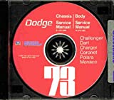 1973 DODGE FACTORY REPAIR SHOP & SERVICE MANUAL & BODY MANUAL CD INCUDES: Challenger, Charger, Rally, SE, Coronet, Crestwood, Dart Sport, Swinger, Monaco, Polara and Custom, including all convertibles and wagons. 73