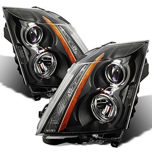 ACANII - For 2008-2014 Cadillac CTS CT-S Halogen Black Headlights Headlamps Head Lights Lamps Driver + Passenger Side