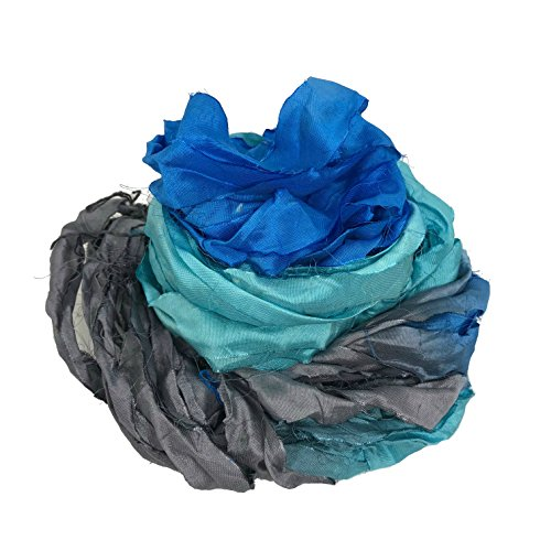 KnitSilk Brand - Super Bulky Recycled Sari Silk Ribbon Yarn in Blue Gray | 50 Gms - 30 Yards | Duppioni Silk Ribbon (Pack of 1)