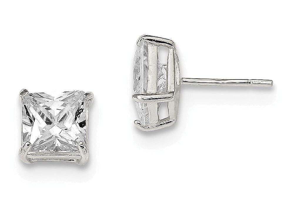 Finejewelers Sterling Silver 7mm Square Cubic Zirconia Basket Set Stud Earrings