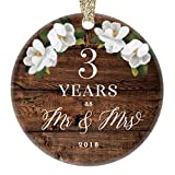2018 Christmas Ornament 3rd Third Wedding Anniversary Ceramic Collectible Present Three Years Wed Husband Wife Married Couple Country Rustic Keepsake 3'' Flat Porcelain with Gold Ribbon & Free Gift Box