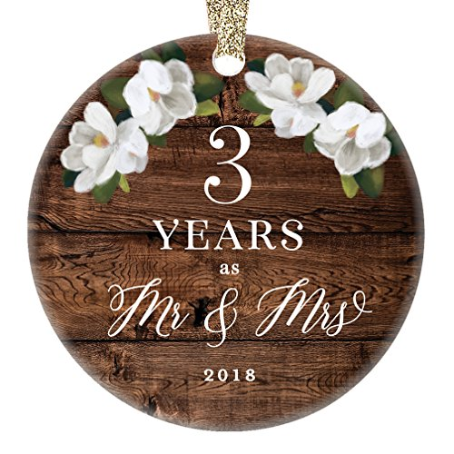 2018 Christmas Ornament 3rd Third Wedding Anniversary Ceramic Collectible Present Three Years Wed Husband Wife Married Couple Country Rustic Keepsake 3'' Flat Porcelain with Gold Ribbon & Free Gift Box by Digibuddha