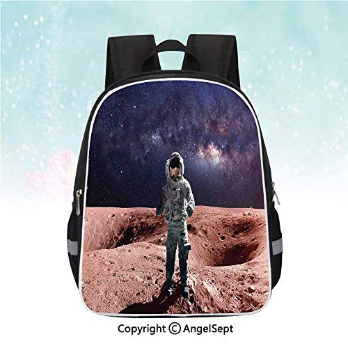 Kids School Backpack,Astronaut on Space Mercury before Milky Way Cosmos Meteor Fantasy Art,13