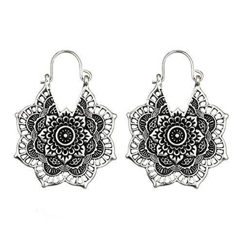 Myhouse Bohemian Vintage Mandala Flower Drop Dangle Earring for Women Girl Hollow Floral Pendant Earrings,Silver Color