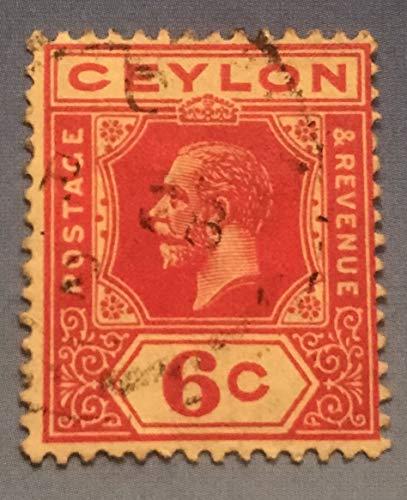 Postage Stamps Ceylon. One Single Used 6c Carmine King George V Stamp Dated 1912-25, Scott #204.