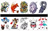 GGSELL GGSELL 10pcs tattoo dog temporary tattoos in one packages,including leopard with flower,wolf,tiger,women with owl,lady,lovely dogs,deer with glasses,rose,women,crane,etc.