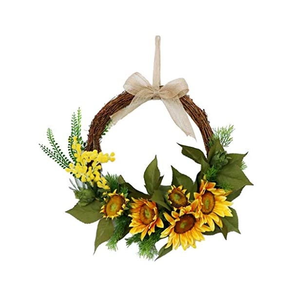 15″ Sunflower Wreath – Rustic Farmhouse Decorative Artificial Flower Wreath, Floral Wreath for Front Door Window Wedding Summer Fall – Round, Yellow