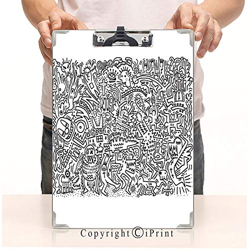 Student's Painting Clipboard,Custom Clipboard, Aluminum,PVC,A4 Standard, Doodle Halloween Holiday Background Design -