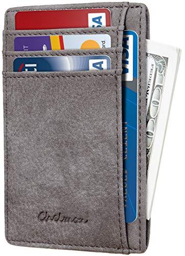 Chelmon Slim Wallet RFID Front Pocket Wallet Minimalist Secure Thin Credit Card Holder (Vinti Grey -