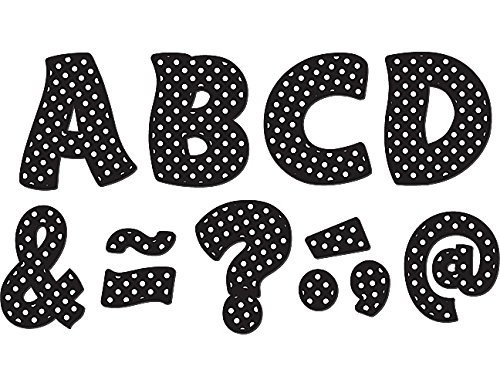 """Teacher Created Resources Funtastic Font 3"""" Magnetic Letters, Black Polka Dots (77216.0)"""