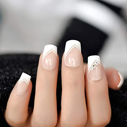 Amazon.com : Natrual Nude White V French False Rhinestones Glitter Decor Nail Tips Full Acrylic Artificial Press On Wear Uv Fake Nails L5039 : Beauty