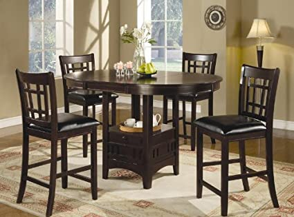 5pc Counter Height Dining Table And Stools Set Dark Cappuccino Finish