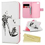 iPhone 7 Case (4.7 inch) - Mavis's Diary Wallet Flip Stand Case 3D Bling Crystal Diamonds PU Leather Case Shockproof TPU Inner Bumper Colorful Slim Protective Card Slots Cover - High Heeled Shoe
