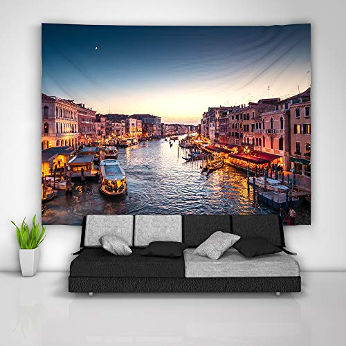 (JackGo7 Venice Italy Tapestry Art Wall Hanging Sofa Table Bed Cover Mural Beach Blanket Home Dorm Room Decor Gift)