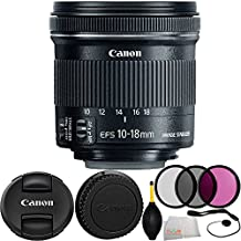 Canon EF-S 10-18mm f/4.5-5.6 IS STM Lens 8PC Accessory Kit. Includes Manufacturer Accessories + 3PC Filter Kit (UV-CPL-FLD) + Cap Keeper + Dust Blower + Microfiber Cleaning Cloth