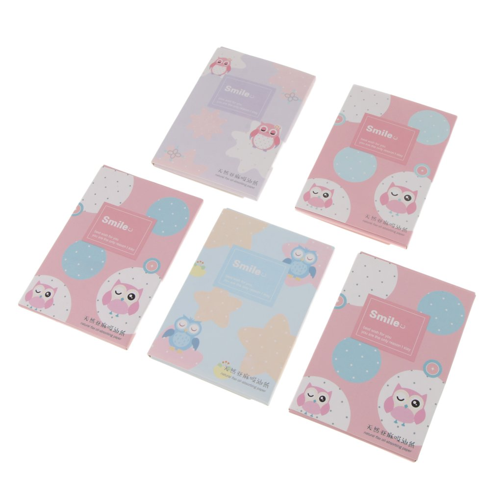 Homyl Lot 250Pcs Oil-Absorbing Sheets Makeup Blotting Paper Oil Control Film Tissue 5 Packs in Total - 7#, as described