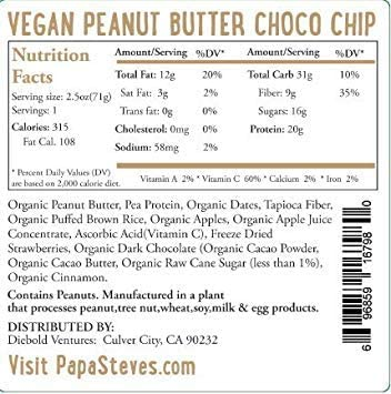 Papa Steve s No Junk Raw Protein Bars, Dairy Free Peanut Butter Choco Chip, 2.5 Oz, 10 Count