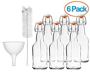 Chef's Star CASE OF 6 - 16 oz. EASY CAP Beer Bottles with Funnel and Cleaning Brush - CLEAR