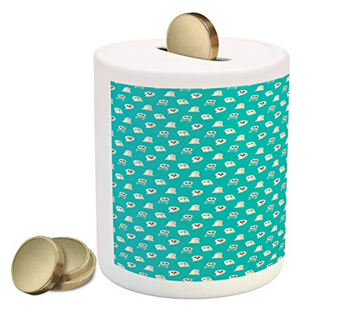 Ambesonne Ghost Piggy Bank, Scary Ghost Spirits Skulls and Bones on Turquoise Shade Halloween Party, Printed Ceramic Coin Bank Money Box for Cash Saving, Turquoise and Eggshell ()