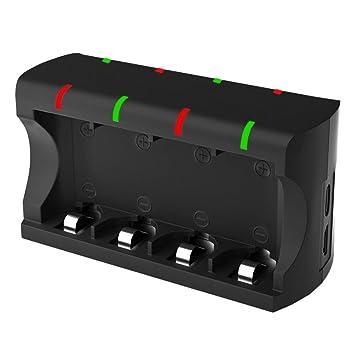 Pilas Cargador 8 Ranuras, Pantalla LCD Cargador de batería ...