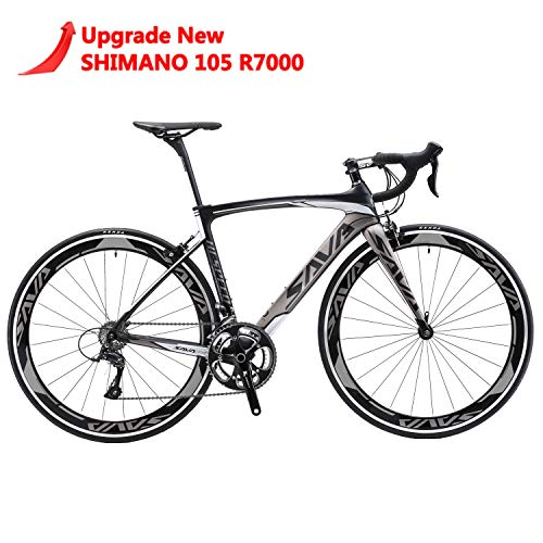 SAVADECK Carbon Road Bike, Windwar5.0 Carbon Fiber Frame 700C Road Bicycle with Shimano 105 22 Speed Groupset Ultra-Light Bicycle (Grey, 54cm)