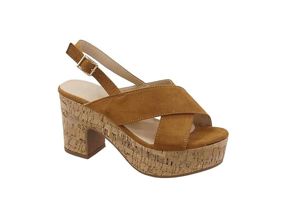 Mujer Y Zapatos Camel Para Sandalias Chanclas Cuñas P8n0OXNwk