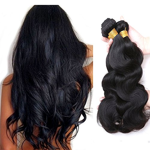 Jaycee Hair Brazilian Virgin Hair Body Wave 3 Bundles 8A 100% Unprocessed Remy Human Hair Weave Hair Extensions Natural Black Color(100+/-5g)/pc(16'+18'+20'))