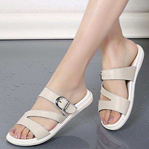 Wear Bottom gray 2017 En Flat Femmes Slope Pantoufles FraîChes D'éTé Sandals Chaussures Cuir Avec F0pqw86