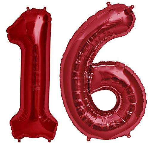 Tellpet Red Number 16 Balloon, 40 Inch ()