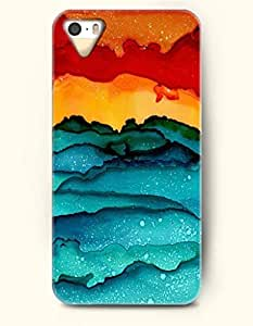 Apple iPhone 4/4S Cover Watercolor Painting- Beautiful Moutains - Hard Back Plastic Case / Rainbow Color Series / OOFIT Authentic wangjiang maoyi