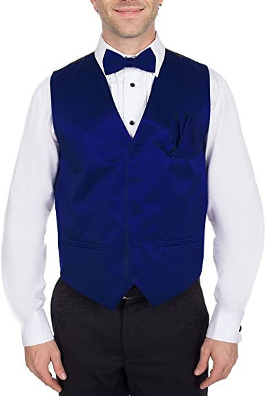 Royal Blue Mens Vest with Pre-Tied Bow Tie and Pocket Square Set