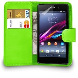 123 Online Sony Xperia Z1 Verde Cartera de cuero del caso del tirón bolsa de la cubierta + Protector de pantalla y paño de pulido