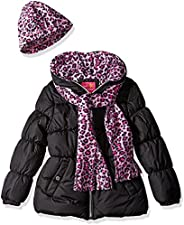 Pink Platinum Girls Puffer Jacket with Cheetah Lining and Accessories Jacket