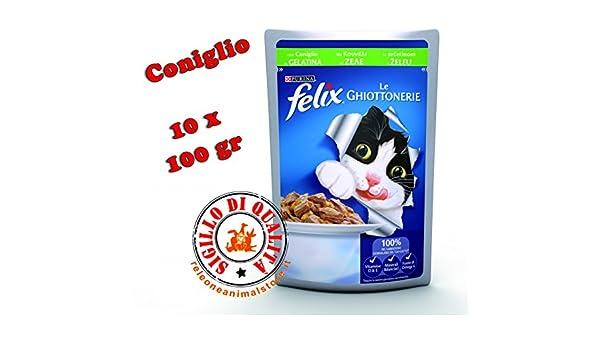 Felix Le ghiottonerie mojado Alimento completo para gato conejo 10 x 100gr: Amazon.es: Productos para mascotas