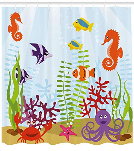 Ambesonne Aquarium Shower Curtain Friendly Sea Animals Tropical Aquatic Habitat Collection Seahorse Crab Octopus Fabric Bathroom Decor Set with Hooks 70 inches Multicolor