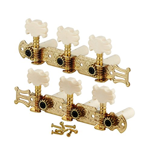 FLEOR 3 on A Plate 2 Row Guitar Tuning keys Acoustic Folk Guitar Machine Heads Tuners Set,Golden Color by FLEOR (Image #1)