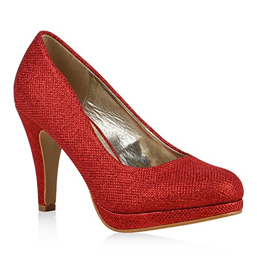 Stiefelparadies Damen Glitzer Pumps Plateaupumps Stiletto High Heels Velours Peeptoes Leder-Optik Plateau Vorne Party Schuhe Flandell Rot Glitzer Brito