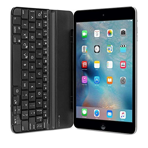 Logitech Ultrathin Bluetooth Keyboard Cover Clip-On Protection for Apple iPad Mini 3, Mini 2 and Mini - Space Gray