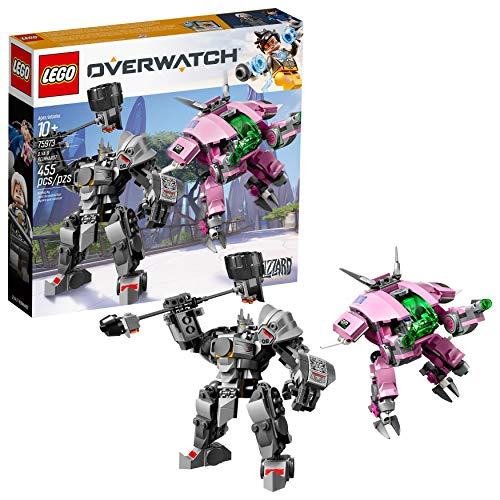 LEGO Overwatch D.Va and Reinhardt 75973 Mech Building Kit with popular Overwatch Character Minifigures and Buildable Rocket Hammer (455 Pieces) (Lego Building Gun)