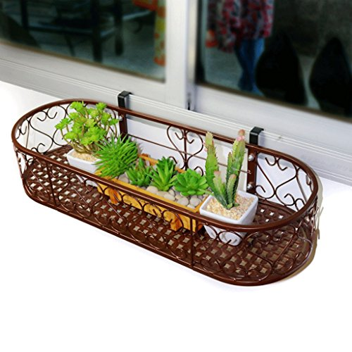 Udfybre Oval Windowill Racks de Flores Barandas de balcón Vallas de suspensión Flower Pots Rack de Pared Que entregan Arte...