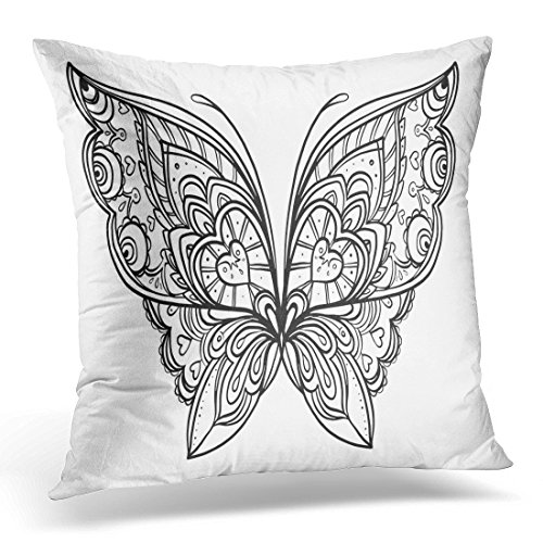 Cover Color Butterfly Zentangle Style Inspired Design Tattoo Coloring Book and Adults Page Drawing Decorative Pillow Case Home Decor Square 20x20 Inches Pillowcase ()