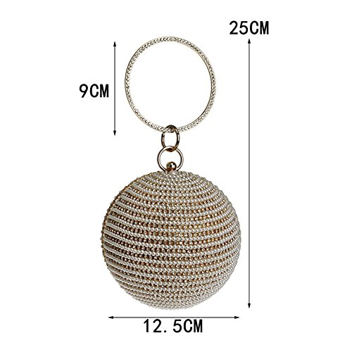 New Spherical Evening Bag GROSSARTIG Bag Female Pearl Dress Black Handbag Banquet Bag ZqxBYg