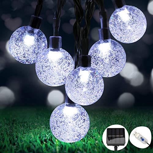 OMERIL Guirnaldas Luces Exterior Solar, 8M Cadena de Luces con 50 LED Bola, 8 Modos y IP65 Impermeable, USB Recargable…