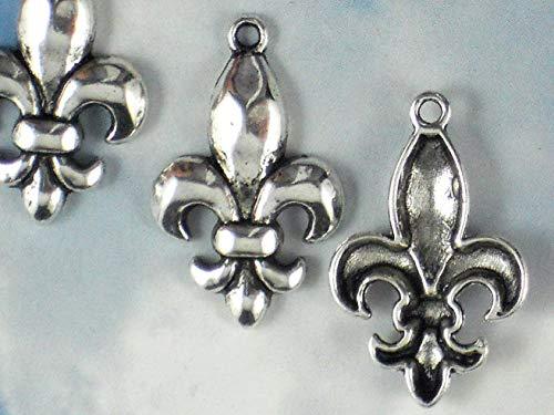 - 6 Charms Fleur de Lis Silver Tone Pendants - Fluer Ragin Cajuns Vintage Crafting Pendant Jewelry Making Supplies - DIY for Necklace Bracelet Accessories by CharmingSS