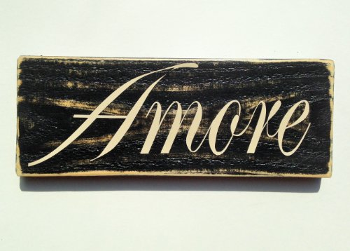 AMORE Shabby Country Chic Italian LOVE Rustic CUSTOM Wood Signs CHOOSE COLOR