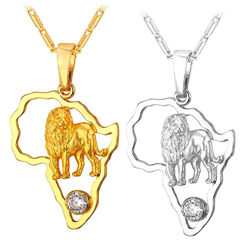 U7 Africa Map Pendant with Lion 18K Gold Plated Flat Chain Women Men Necklace