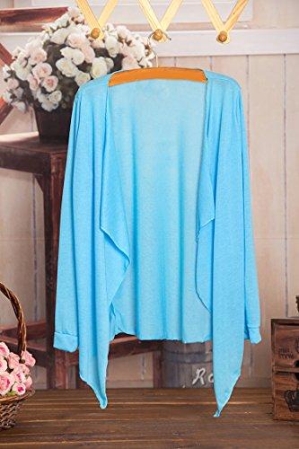 Elegante Bikini Mare Ragazza Luce Abbigliamento Cappotto Irregolare Pareo Sottile Blu Cover Mare Cardigan Copricostume Colore Mare Up Moda Casual Donna Lunga Puro Costume Estivi Sciolto Primaverili Manica SHqU5p