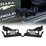 Cartaoo Stainless Steel Black Metal Front Foot Pegs Rest Kick Panel for 2007-2017 Jeep Wrangler JK & Unlimited (2pcs in 1pack) (Grille Style)
