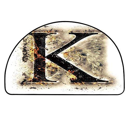 YOLIYANA Letter K Doormat,Smoked Letter K Alphabet in Blaze with Grunge Design Ignited Writing Symbol Decorative Entryway Mat,27.5