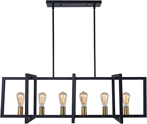 Lingkai Modern Kitchen Island Light Pendant Chandelier 6-Light Ceiling Light Industrial Pendant Lighting Fixture Matte Black